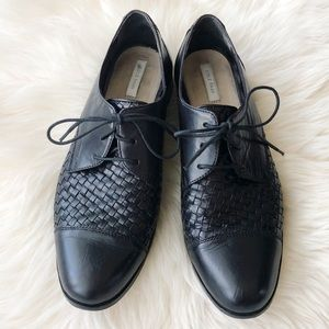 Cole Haan Jagger Weave Black Leather Oxfords 9M